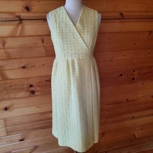 1960s Unlabeled Yellow, Lined, Polyester Sun Dress
